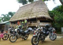 Riding motorbike in Sapa