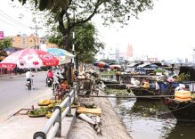 A floating market inside a modern city