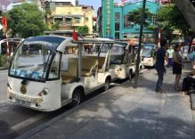 Electric buggies used on Hanoi pedestrian streets